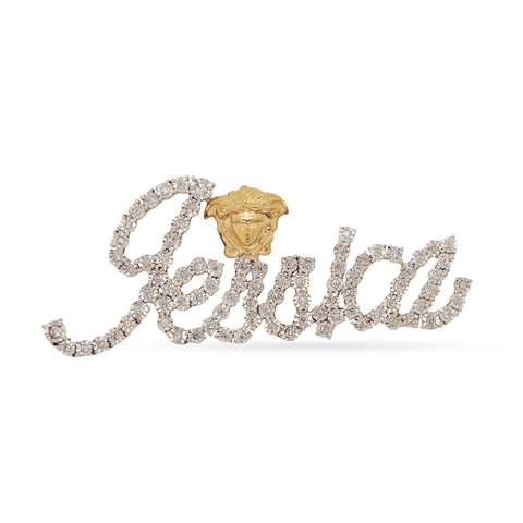 10K Yellow Gold Custom Name Plate With 0.59CT Diamonds