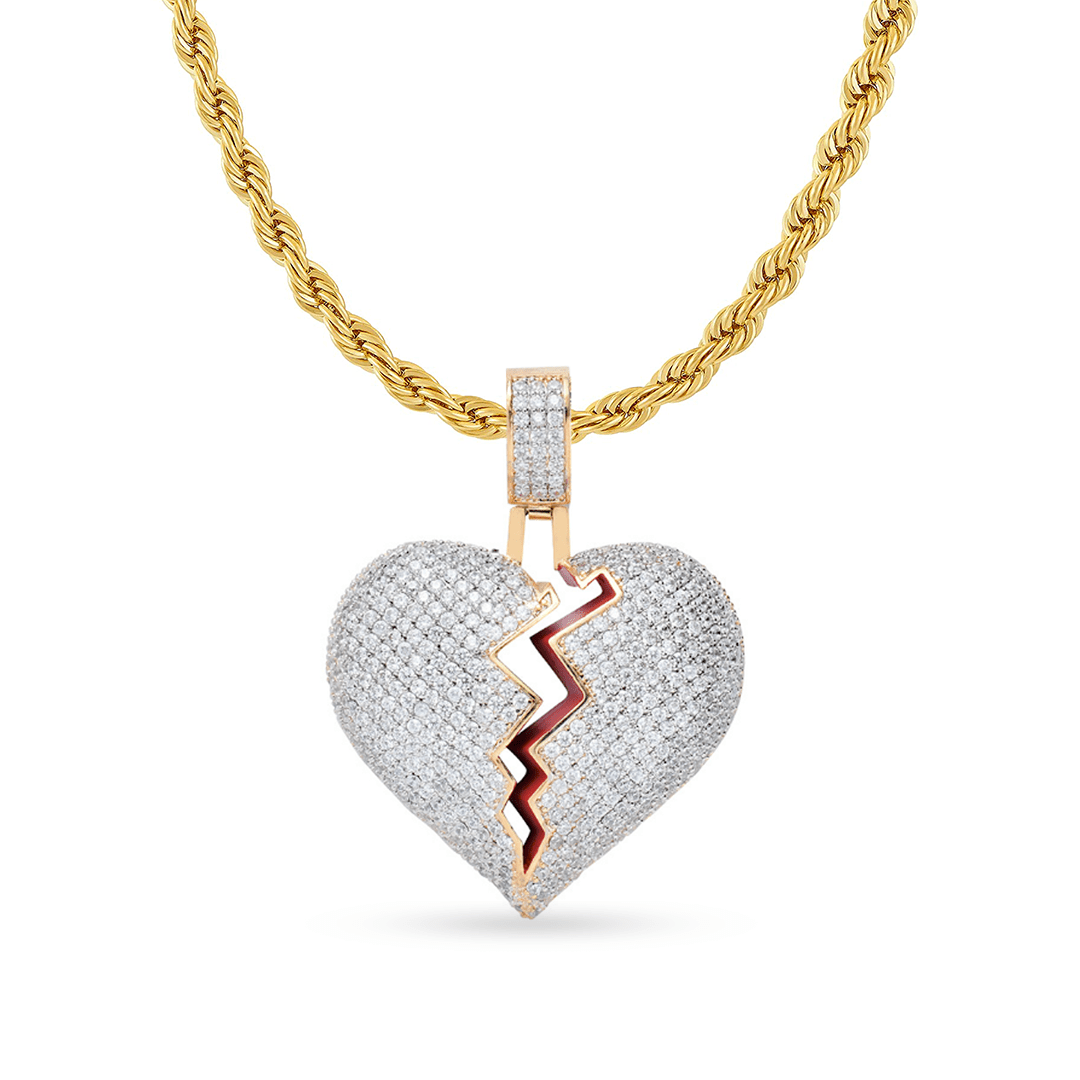 10K Yellow Gold Broken Heart Pendant With 1.40CT Diamonds