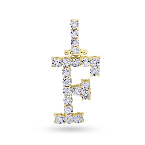 10K Yellow Gold Initial Pendant With 0.12CT Diamonds