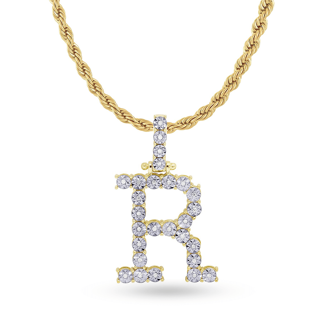 10K Yellow Gold Initial Pendant With 0.15CT Diamonds