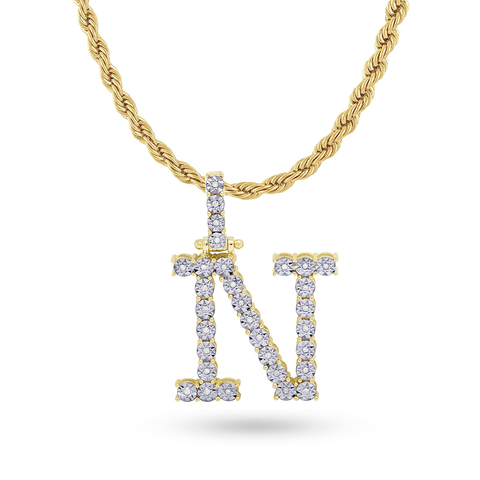 10K Yellow Gold Initial Pendant With 0.17CT Diamonds