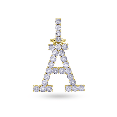 10K Yellow Gold Initial Pendant With 0.16CT Diamonds