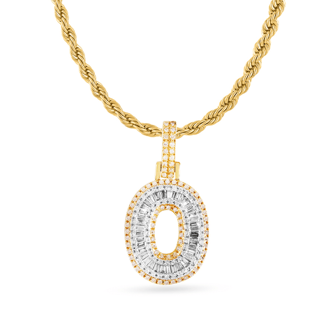 14K Yellow Gold Initial Pendant With 0.65CT Diamonds