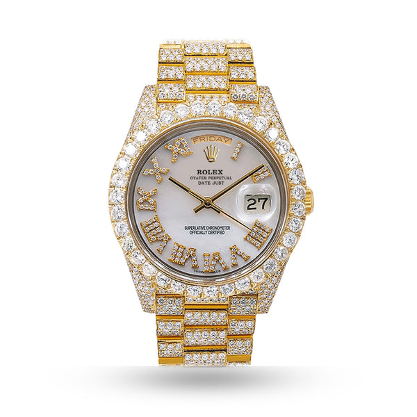 ROLEX DAY DATE 18038 DIAMOND WATCH  CHAMPAGNE DIAL WITH 19.5 CT DIAMONDS