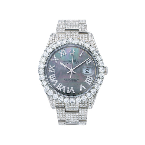 ROLEX DATEJUST DIAMOND WATCH, ,SILVER DIAMOND DIAL,WITH STAINLESS STEEL OYESTER BRACELET