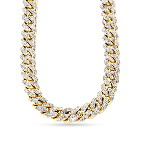 10K Yellow Gold Cuban Chain With 10.52CT Diamonds