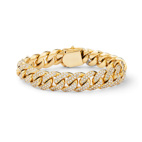 10K Yellow Gold Men's Cuban Bracelet With 11.88CT Diamonds