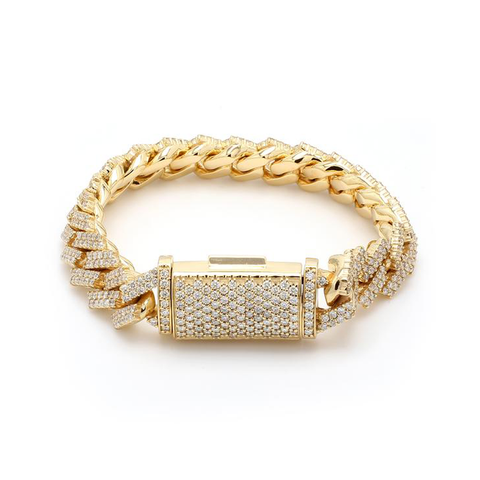 10K Yellow Gold Men's Cuban Bracelet With 6.30CT  Diamonds