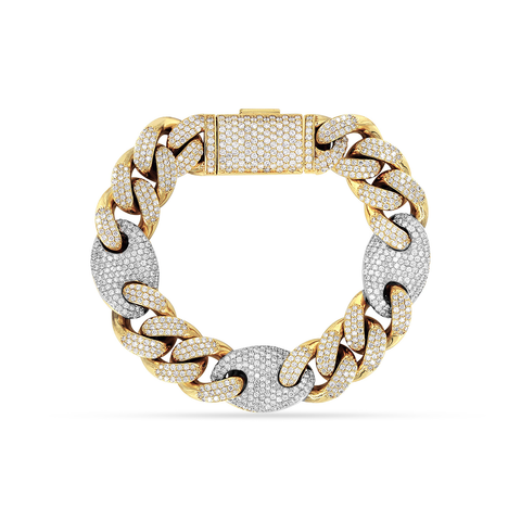 10K Yellow/White Gold Men's Cuban Bracelet With 15.45CT Diamonds