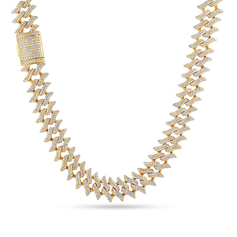 10K Yellow Gold Men's Spike Cuban Chain With 10.0 CT Diamonds