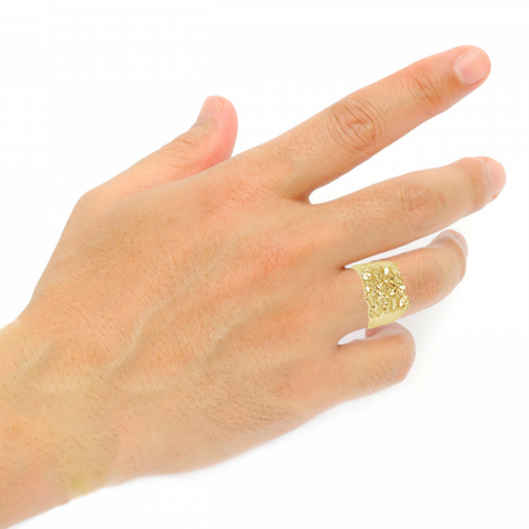 10K Yellow Gold Men's Gold Nugget Ring