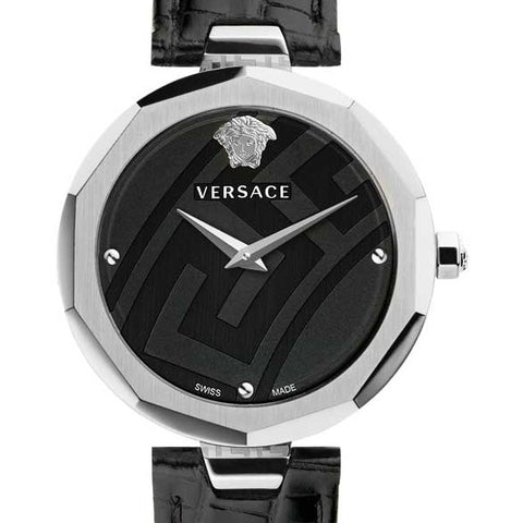 36mm Black Satin Idyia Versace Stainless Steal Watch w/ Tejus Pattern Black Calf Leather Strap