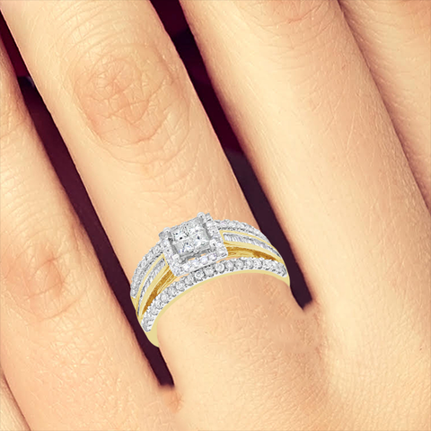 Diamond Halo Engagement Ring .93 CTW Princess Cut w/ Baguettes & Round Cut 14K Yellow Gold