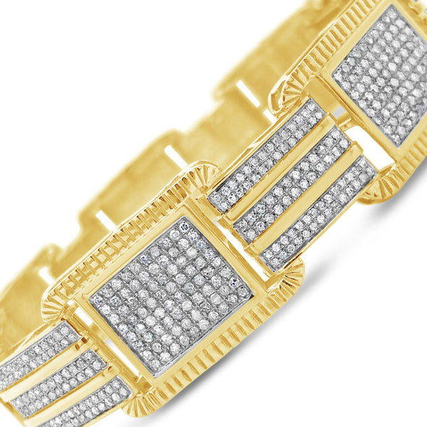 10K Solid Yellow Gold 3.80CT tw Round Cut Custom Diamond Bracelet