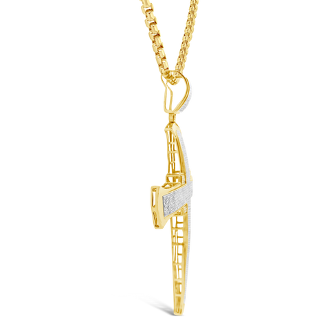 Diamond Cross Pendant 2.65 CTW Round Cut 10K Yellow Gold