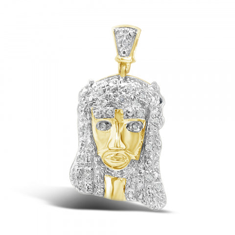 Diamond Jesus Pendant .15CT tw Round Cut 10K Yellow Gold