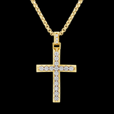 Diamond Cross Pendant 1.97CT tw Round Cut 10K Yellow Gold