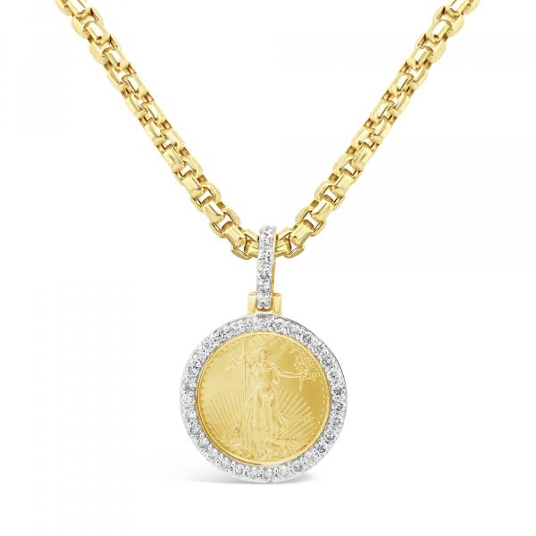 22KT Coin Diamond Pendant .76CT tw Round Cut 10K Yellow Gold