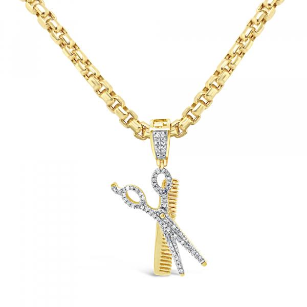Diamond Sissors & Comb Pendant .25CT tw Round Cut 10K Yellow Gold