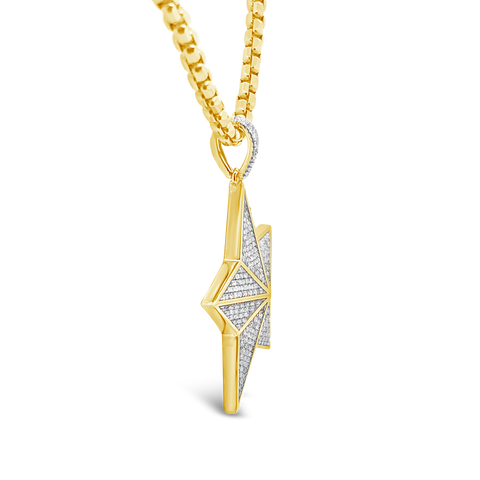 Diamond Star Pendant .88 CTW Round Cut 10K Yellow Gold