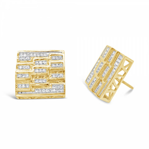 10K Yellow Gold .40ct Custom Diamond Square Earrings