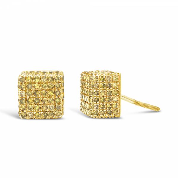 10K Yellow Gold 1.75ct Canary Diamond Square Earrings