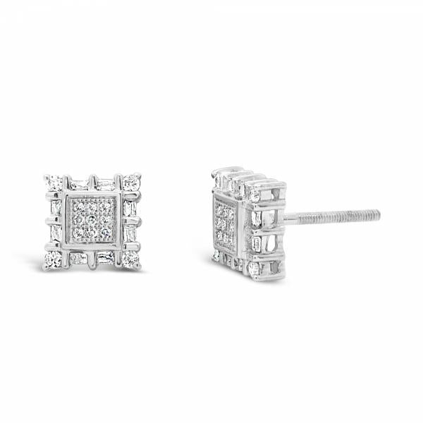 10K Yellow Gold .28ct Diamond Square Earrings w/ Baguettes