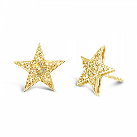 10K Yellow Gold .14ct Canary Diamond Star Earrings