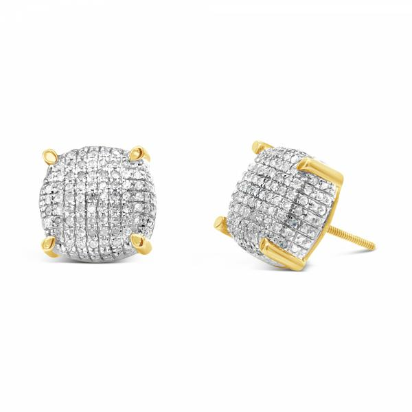 10K Yellow Gold .66ct Diamond 3D Square Earrings