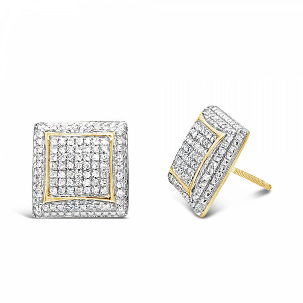 10K Yellow Gold .70ct Diamond Square Earrings