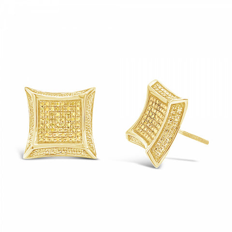 10K Yellow Gold .30ct Canary Diamond Square Earrings