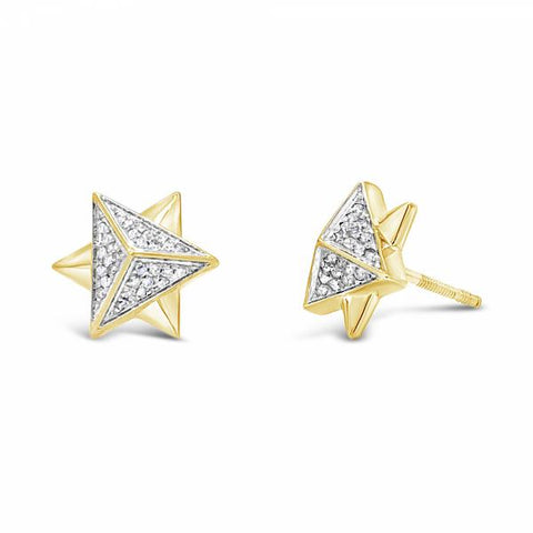 10K Yellow Gold .22ct Diamond 3D Star of David Earrings