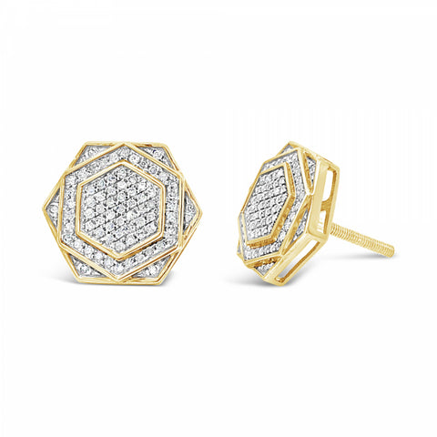 10K Yellow Gold .50ct Diamond Polygon Earrings