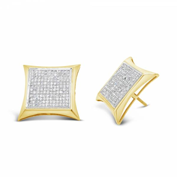10K Yellow Gold 1.10ct Diamond Square Earrings W/ Gold Trim