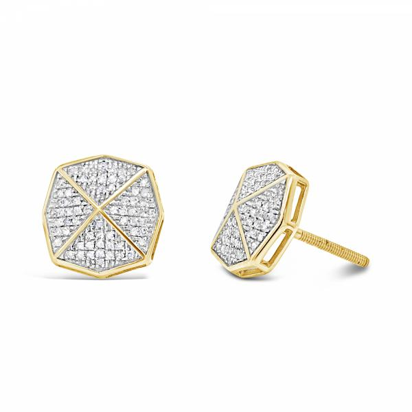 10K Yellow Gold .30ct Diamond Octogon Earrings w/ Gold Detail