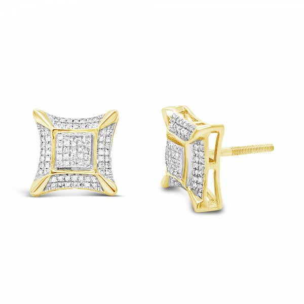 10K Yellow Gold .34ct Diamond Square Earrings