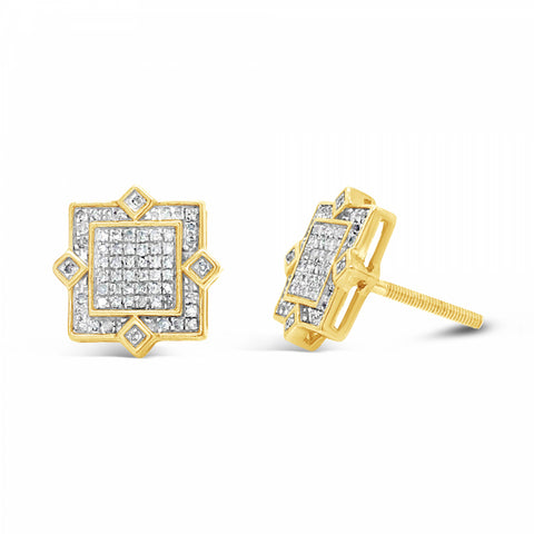 10K Yellow Gold .40ct Diamond Square Earrings