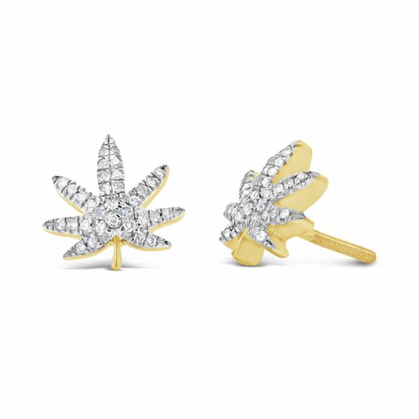 10K Yellow Gold .21ct Diamond Pot Leaf Earrings