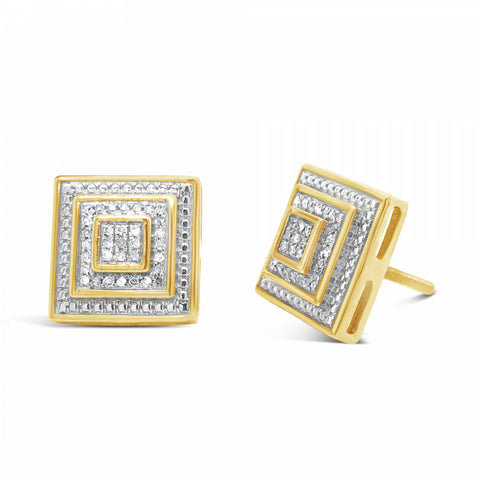 10K Yellow Gold .17ct Diamond 3D Stacking Square Earrings