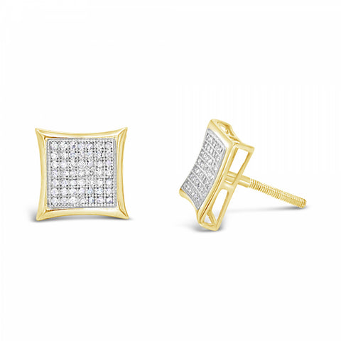 10K Yellow Gold .35ct Diamond Square Earrings