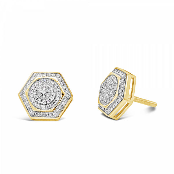 10K Yellow Gold .31ct Diamond Hexagon Earrings