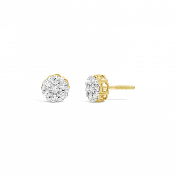 10K Yellow Gold .59ct Diamond Cluster Earrings