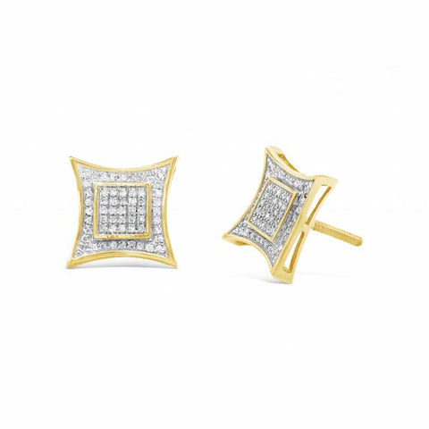 10K Yellow Gold .25ct Diamond Square Earrings