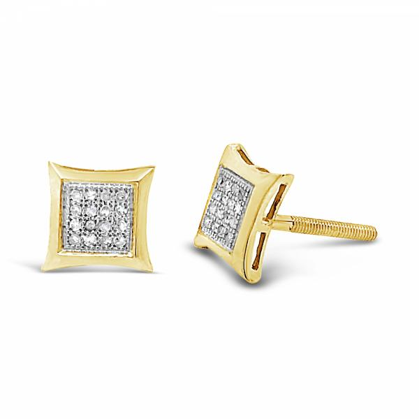 10K Yellow Gold .09ct Diamond Square Earrings w/ 3D Detailing