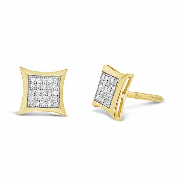 10K Yellow Gold .16ct Diamond Square Earrings w/ Gold Detail