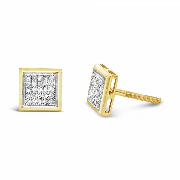 10K Yellow Gold .14ct Diamond Square Earrings w/ Gold Detail