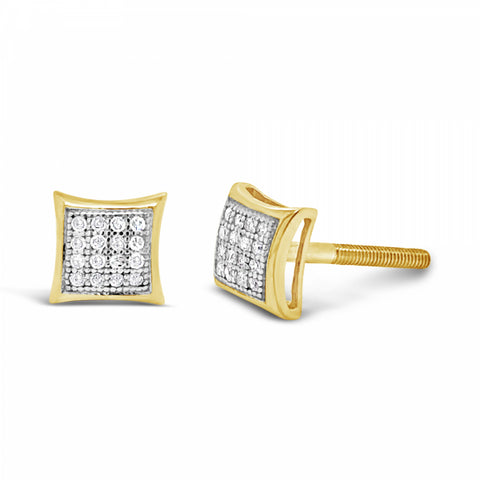 10K Yellow Gold .09ct Diamond Square Earrings w/ Gold Detail