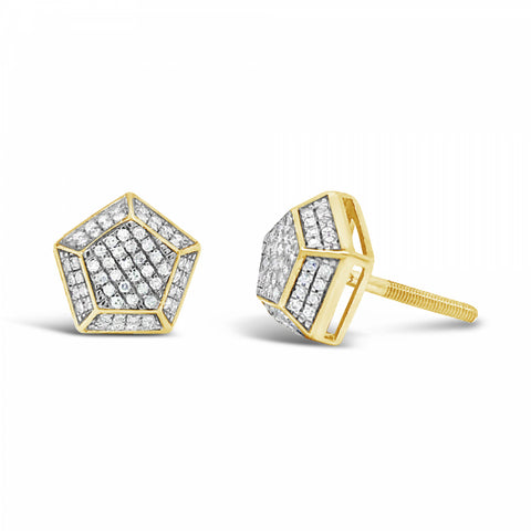 10K Yellow Gold .28ct Diamond 3D Polygon Earrings