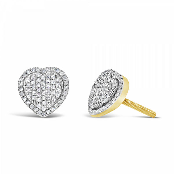 10K Yellow Gold .21ct Diamond Heart Earrings
