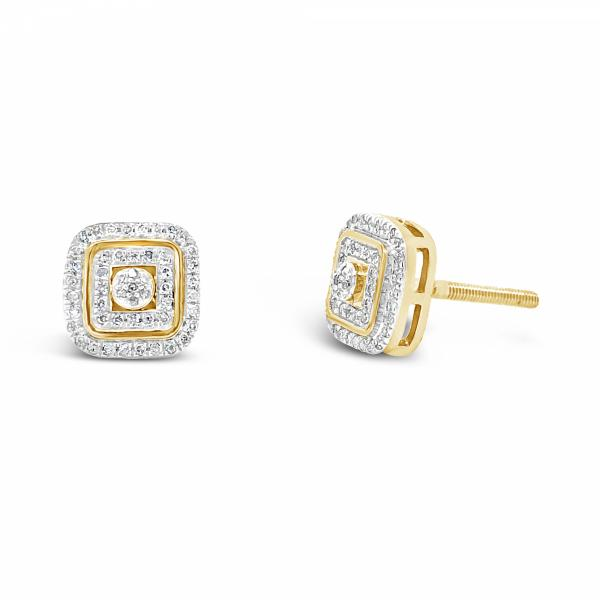 10K Yellow Gold .17ct Diamond Square Earrings